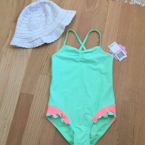 NWT mermaid mint orange bathing suit 6T